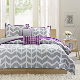 Intelligent Design Peyton 5-piece Full/ Queen Size Duvet Cover Set in Purple (As Is Item)