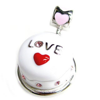 Queenberry Rhodium-plated Sterling Silver 3-D Birthday Cake w/ Red Heart Love Pink Rose CZ Dangle Eu