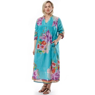 La Cera Women's Blue Cotton Plus Size 3/4-sleeve Pleated Caftan