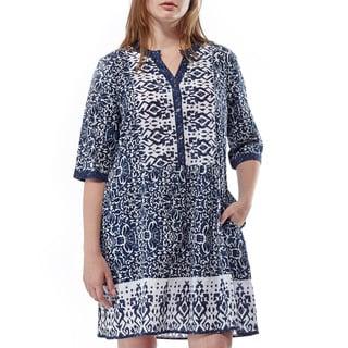 La Cera Women's Blue Cotton 3/4-sleeve Printed Chemise