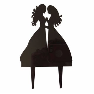 Unik Occasions Hers and Hers Couple Silhouette Black Acrylic Wedding Cake Topper