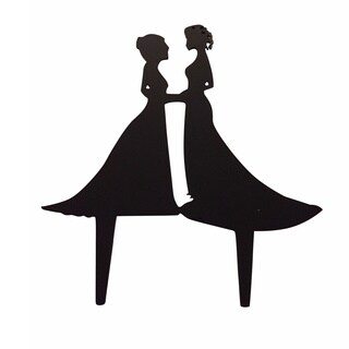 Hers and Hers Couple Silhouette Black Acrylic Wedding Cake Topper