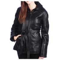 Tanners Avenue Women's Black Lamb Leather 3/4 Belted Jacket