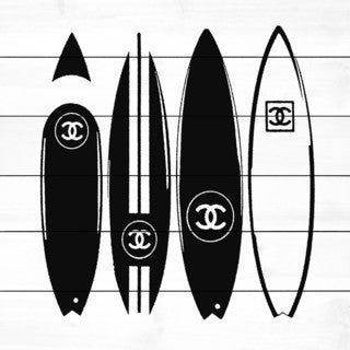 Marmont Hill 'V Chanel Surfboards' Painting Print on White Wood