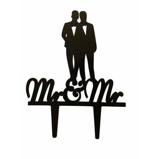 Mr. & Mr. Couple Silhouette Black Acrylic Wedding Cake Topper