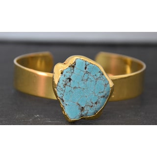 Mint Jules Raw Turquoise Cuff Gold Plated Bracelet