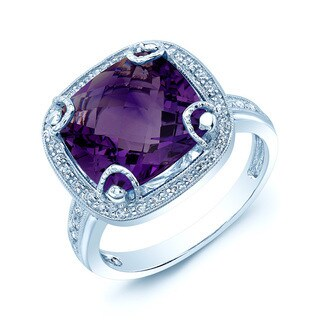 14k White Gold Amethyst 1/6k TDW H-I VS1-VS2 Diamond Ring