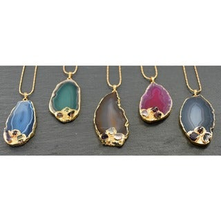 24-karat Gold Overlay Mint Jules Agate Slice Pendant Necklace