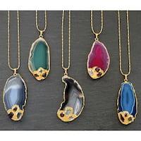 24-karat Gold Overlay Mint Jules Agate Slice Pendant Necklace