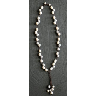Mint Jules Leather with Grey and White Freshwater Pearl 24-inch Necklace