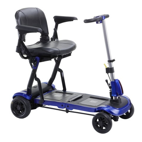 Drive Medical ZooMe Flex Ultra Compact Folding Blue 4 Wheel Travel Scooter