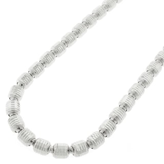 .925 Rhodium-plated Sterling Silver 5-millimeter Diamond-cut Barrel Necklace Chain