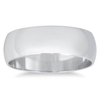 Marquee Jewels 14k White Gold 6-millimeter Domed Wedding Band