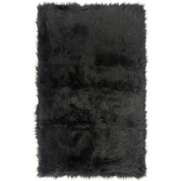 Shop Black Faux Fur Sheepskin Shag Area Rug