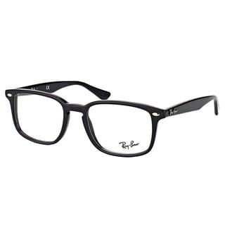ray ban rx shiny black plastic 52 millimeter square eyeglasses