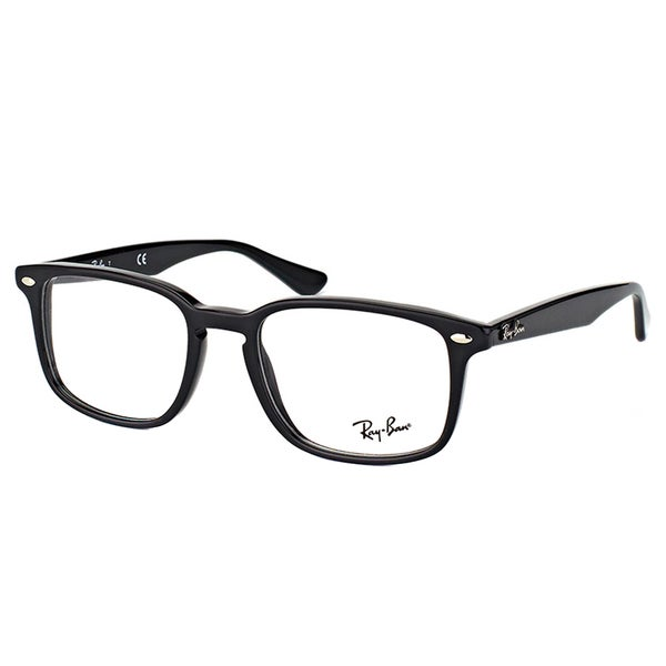533b84aced Shop Ray-Ban RX Shiny Black Plastic 52-millimeter Square Eyeglasses ...