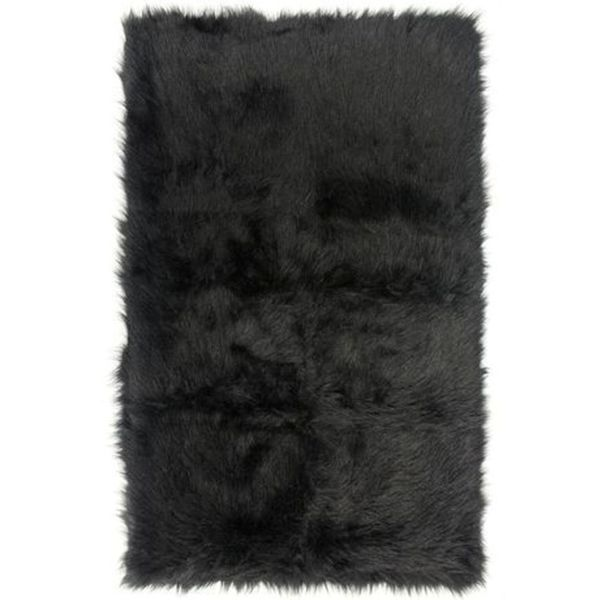 black faux fur rug black faux fur sheepskin shag area rug 3 x 5 free 4669