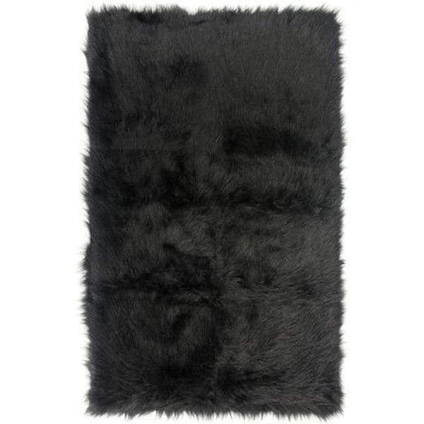 Black Faux Fur Sheepskin Shag Area Rug (3 'x 5')