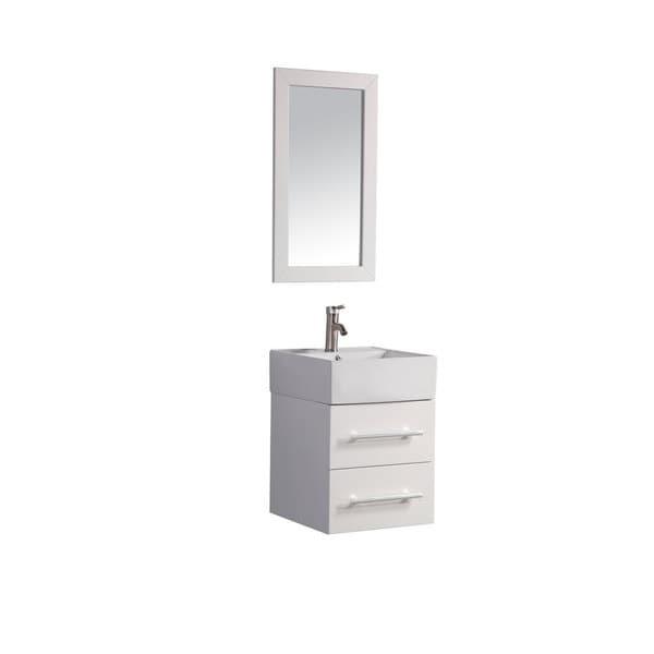 Shop Mtd Vanities Nepal White Oak Ceramic 18 Inch Single Sink Wall Mounted Bathroom Vanity Set