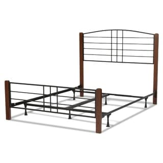 Dayton Complete Bed with Metal Panels and Flat Wooden Posts, Black Grain Finish
