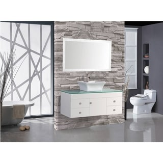 MTD Vanities Nepal White Wood/Oak/Ceramic Single-sink Wall-mounted Bathroom Vanity Set