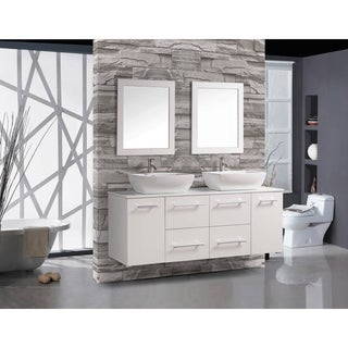 MTD Vanities Nepal Painted White Wood/Oak/Ceramic 63-inch Double Sink Wall Mounted Floating Bathroom Vanity Set