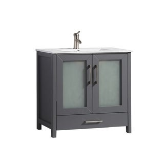 MTD Vanities Argentina Painted Grey Oak/Wood/Ceramic 36-inch Single Sink Bathroom Vanity Set