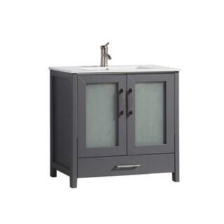 MTD Vanities Argentina Painted Grey Oak/Wood/Ceramic 36-inch Single Sink Bathroom Vanity Set