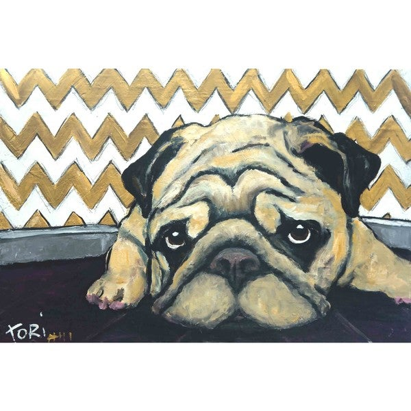 Marmont Hill 'Pug's Holiday' Painting Print on Wrapped Canvas