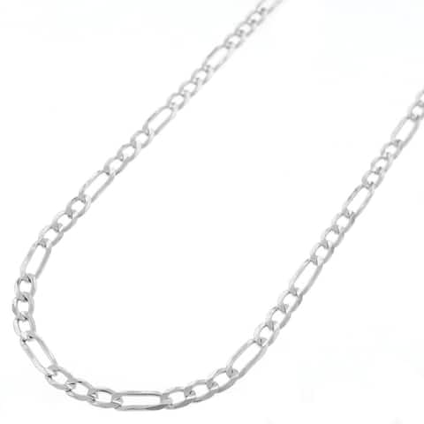 ".925 Solid Sterling Silver 3MM Figaro Link Necklace Chain 20"" - 30"", Silver Chain for Men & Women, Made In Italy"