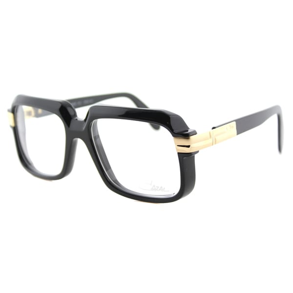 e2e18d9c03b Cazal 607 001 Legends Shiny Black and Gold Plastic 56-millimeter Square  Eyeglasses