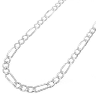 """Sterling Silver Italian 4mm Figaro Link ITProLux Solid 925 Necklace Chain 16"""" - 30"""""""