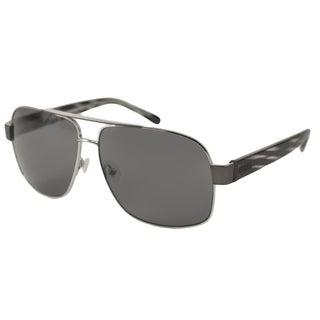Guess Men's GU6741 Aviator Sunglasses in Gunmetal-Grey Stripe/Grey(As Is Item)