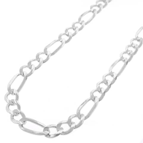 ".925 Solid Sterling Silver 6MM Figaro Link Necklace Chain 18"" - 30"", Silver Chain for Men & Women, Made In Italy"
