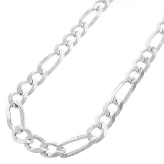 ITProLux .925 Sterling Silver 7.5-millimeter Solid Figaro Link Necklace Chain