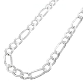 ITProLux .925 Sterling Silver 7-millimeter Solid Figaro Link Necklace Chain