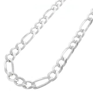 "Sterling Silver Italian 7mm Figaro Link ITProLux Solid 925 Necklace Chain 18"" - 30"""