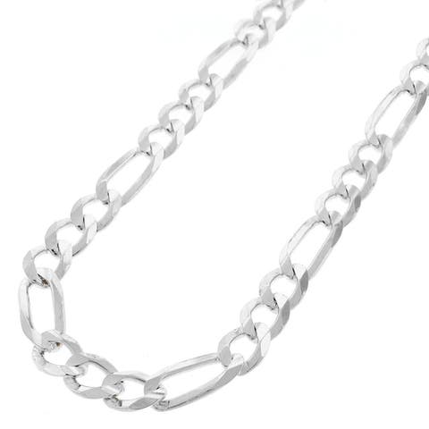 ".925 Solid Sterling Silver 7MM Figaro Link Necklace Chain 18"" - 30"", Silver Chain for Men & Women, Made In Italy"