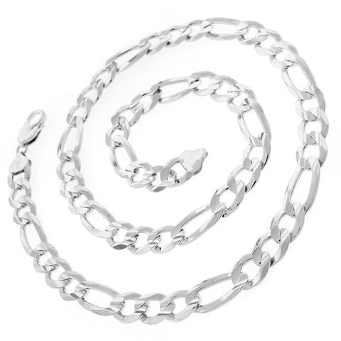 "Sterling Silver Italian 10.5mm Figaro Link ITProLux Solid 925 Necklace Chain 20"" - 30"""