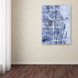Michael Tompsett 'Chicago City Street Map B&W' Canvas Art