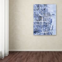 Michael Tompsett 'Chicago City Street Map B&W' Canvas Art