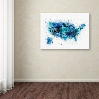 Michael Tompsett 'US Paint Splashes Map' Canvas Art
