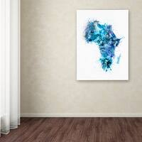 Michael Tompsett 'Paint Splashes Map of Africa' Canvas Art - Multi