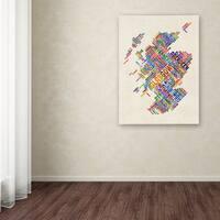 Michael Tompsett 'Scotland Typography Text Map 4' Canvas Art - Multi