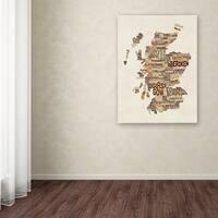 Michael Tompsett 'Scotland Typography Text Map 3' Canvas Art - Multi