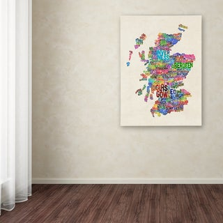 Michael Tompsett 'Scotland Typography Text Map' Canvas Art