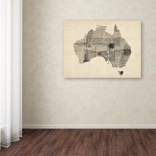 Michael Tompsett 'Old Postcard Map of Australia' Canvas Art