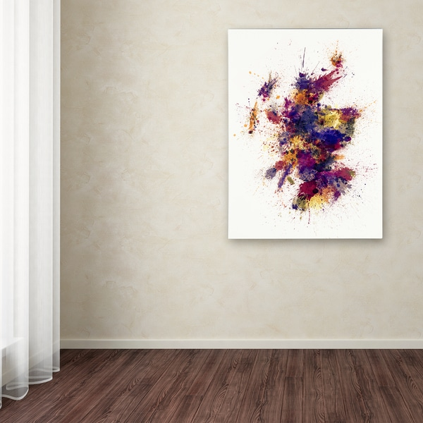 Michael Tompsett 'Scotland Paint Splashes Map 2' Canvas Art