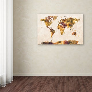 Michael Tompsett 'World Map Watercolor Painting' Canvas Art