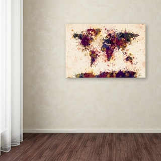 Michael Tompsett 'World Map Paint Splashes 2' Canvas Art